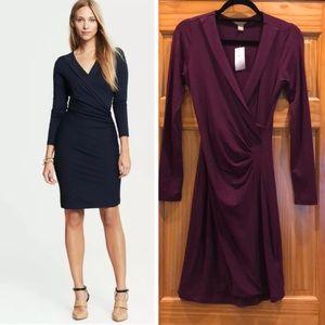 Banana Republic Faux Wrap Purple Ruched Dress